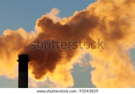 Dangerous toxic cloud from industrial chimney, smog pollution concept