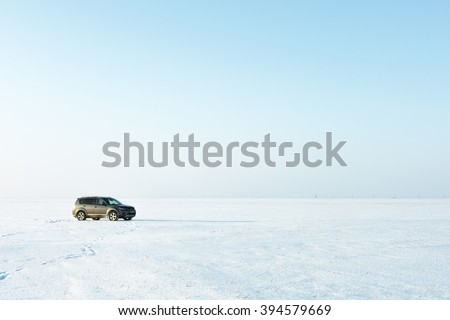 dangerous travel by car in the winter - stock photo