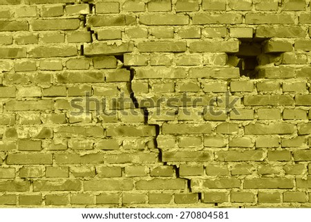 dangerous wall with cracks, closeup of photo   - stock photo