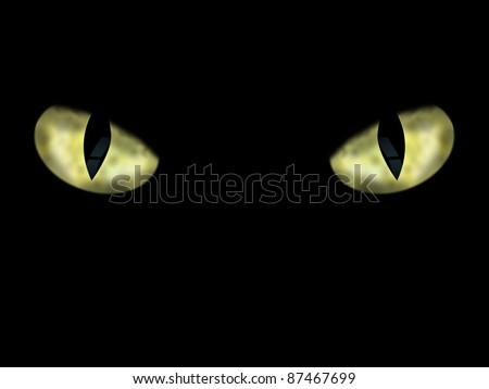 Dangerous Wild Cat Eyes, On Black Background, Illustration - stock photo