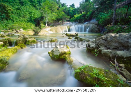 Dangmo waterfall in the Langson (Vietnam) at the afternoon - stock photo