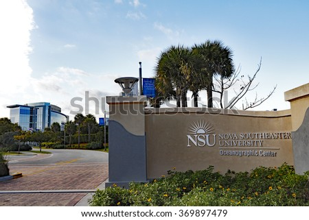 Dania Beach, FL, USA - December 20, 2014: NSU Nova Southeastern University Oceanographic Center entrance, signs and building. NSU is located at 8000 N Ocean Drive.