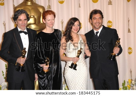 Daniel Day-Lewis, Best Actor, Tilda Swinton, Best Supporting Actress, Marion Cotillard, Best Actress, Javier Bardem, Best Supporting Actor, 80th Annual Academy Awards Oscars, LA, Febr 24, 2008
