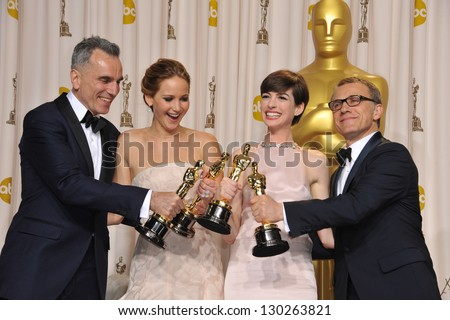 Daniel Day Lewis, Jennifer Lawrence, Anne Hathaway & Christoph Waltz at the 85th Academy Awards at the Dolby Theatre, Los Angeles. February 24, 2013  Los Angeles, CA Picture: Paul Smith / Featureflash