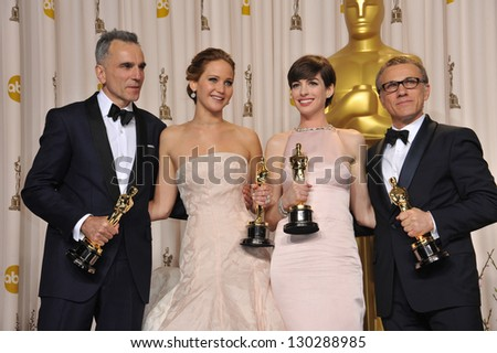 Daniel Day Lewis, Jennifer Lawrence, Anne Hathaway & Christoph Waltz at the 85th Academy Awards at the Dolby Theatre, Los Angeles. February 24, 2013  Los Angeles, CA Picture: Paul Smith