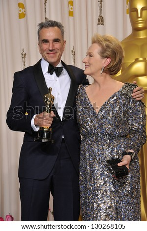 Daniel Day Lewis & Meryl Streep at the 85th Academy Awards at the Dolby Theatre, Los Angeles. February 24, 2013  Los Angeles, CA Picture: Paul Smith - stock photo