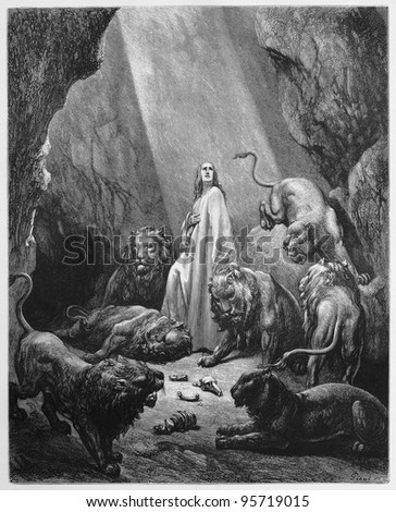 Daniel in the Lions Den - Picture from The Holy Scriptures, Old and New Testaments books collection published in 1885, Stuttgart-Germany. Drawings by Gustave Dore.