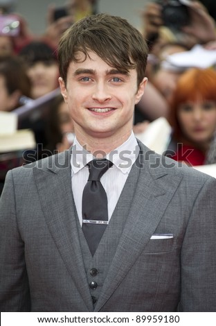 Daniel Radcliffe arriving for the World Premiere of 'Harry Potter & the Deathly Hallows pt2', Trafalgar Square, London. 07/07/2011  Picture by: James McCauley / Featureflash - stock photo