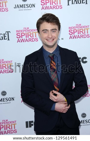 Daniel Radcliffe at the 2013 Film Independent Spirit Awards, Private Location, Santa Monica, CA 02-23-13 - stock photo