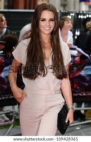 "Danielle Lloyd arriving for the premiere of ""The Amazing Spider-Man"" at the Odeon Leicester Square, London. 18/06/2012 Picture by: Steve Vas / Featureflash"