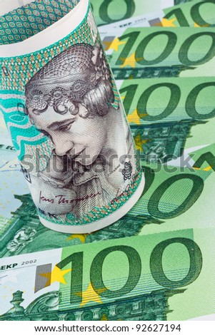 danish crowns. currency from denmark in europe. â?¬ banknotes and money. - stock photo
