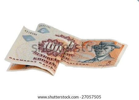 Danish Currency. Two hundred DKR isolated on white. - stock photo