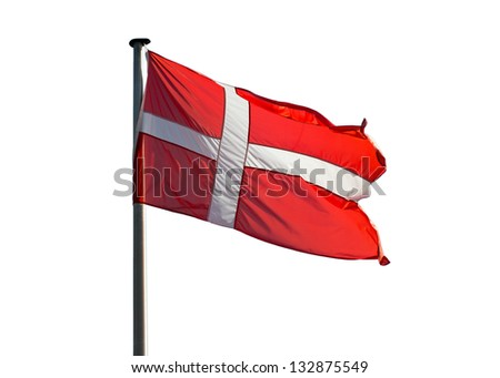 Danish flag on a white background - stock photo
