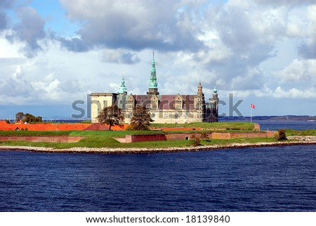 Danish harbour of Helsingor with Kronborg castle