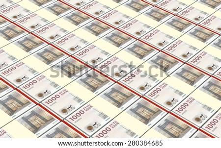 Danish krone bills stacks background. - stock photo