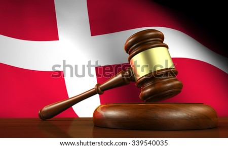 Danish law, legal system and justice concept with a 3d render of a gavel on a wooden desktop and the flag of Denmark on background. - stock photo