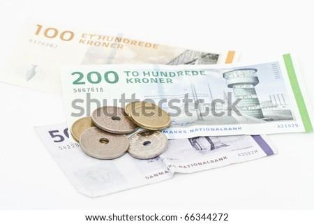 Danish money isolated on white. - stock photo