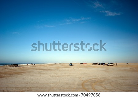 Danish North Sea beach in winter time - stock photo