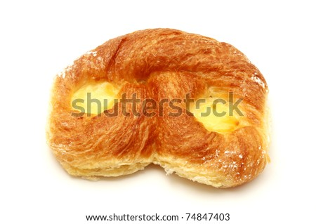 Danish pastry with custard on a white background - stock photo