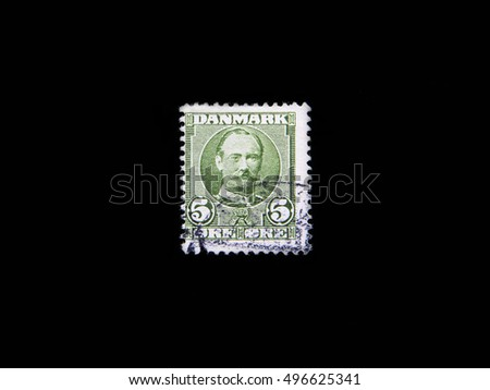 Danish Stamps on black background