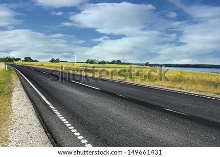 Danish street in country area - stock photo