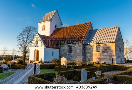 Danish village church at Dall, Aalborg - stock photo