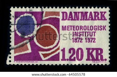 DANMARK - CIRCA 1972: A stamp printed in DANMARK shows image of the dedicated to the Meteorologisk Institut 1872-1972, circa 1972.