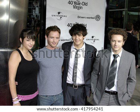 """Danny Masterson, Christopher Masterson, Jordan Masterson and Alanna Masterson at the Los Angeles premiere of """"The 40 Year-Old Virgin"""" held at the ArcLight Theatre in Hollywood, USA on August 11, 2005. - stock photo"""