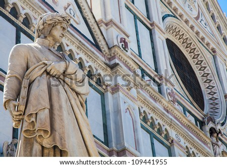 Dante's statue in front of Santa Croce church - Florence, Italy - stock photo