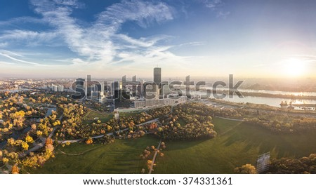 Danube City Vienna at the Danube river with the new DC-Tower - stock photo