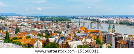 Danube river and Budapest city, Hungary - stock photo