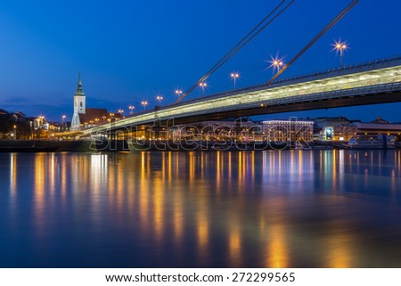 Danube river and evening cityscape of Bratislava, the capital of Slovakia, Europe - stock photo