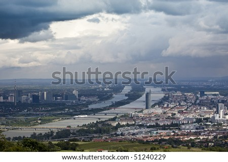 Danube river at Vienna with moody sky