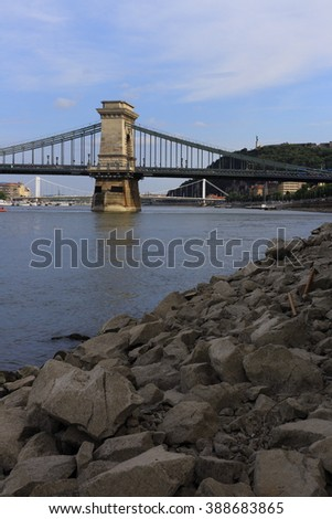 Danube River with a view of the Chain bridge, Budapest, Hungary