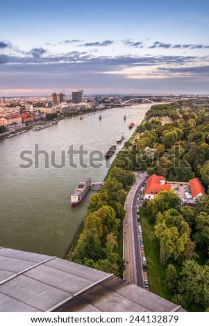 Danube River with Anchored Boats in Bratislava, Slovakia as Seen from Observation Deck - stock photo