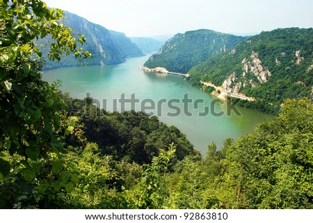 Danube valley Veliki Kazan on the Serbian-Romanian border - stock photo
