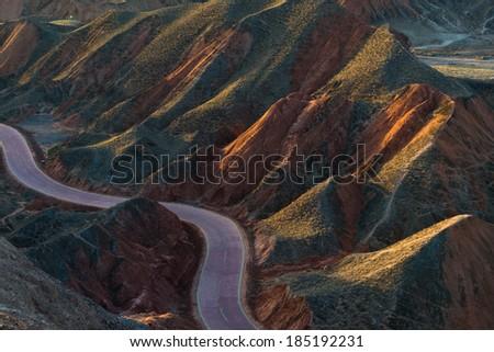 danxia landform, zhangye, china - stock photo