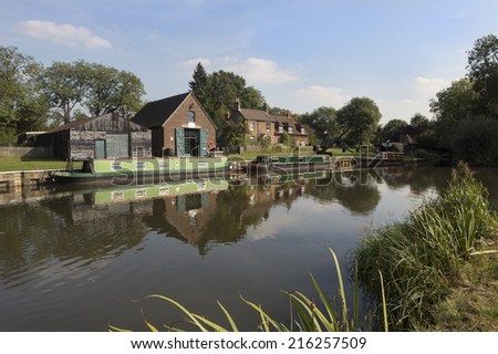 Dapdune Wharf on the River Wey in Guildford, Surrey, UK