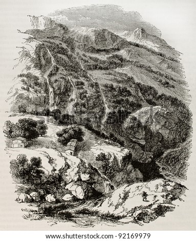 Daphne gardens old view, Antioch region. Created by Freeman after De Laborde, published on Magasin Pittoresque, Paris, 1845 - stock photo