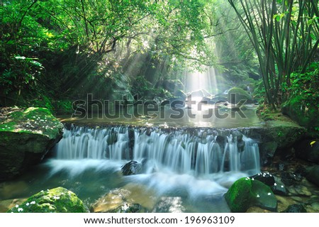 Dappled sunbeams dancing on a pool atop a small waterfall.