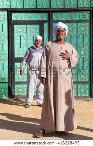 DARAW, EGYPT - FEBRUARY 6, 2016: Local men at Daraw market. - stock photo