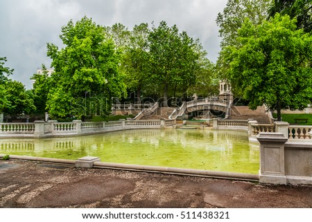 Darcy park, fountain. In 1880 the architect Felix Vionnois laid out a garden. Dijon city, France.