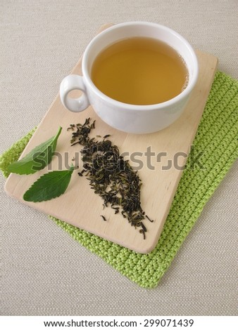 Darjeeling green tea and stevia - stock photo
