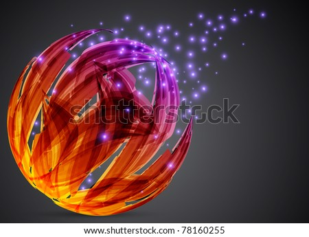 dark abstract background. color sphere. illustration - stock photo