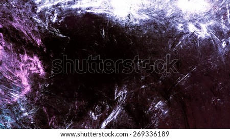 Dark abstract futuristic background. Digital artwork. Black and purple grunge texture for creativity design. Making a poster, booklet, cover album, wallpaper, flyers in gothic style. Fractal art - stock photo