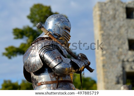 dark ages metal armor and helmet mace knight