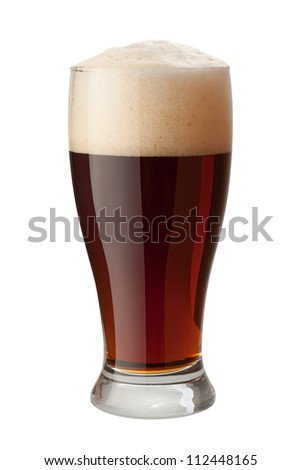Dark Ale Isolated on white with a clipping path - stock photo