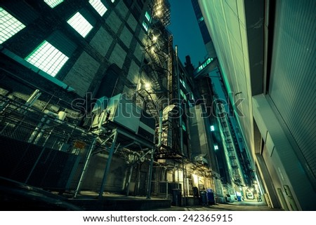 Dark Alley at Night. Alley in Large American City. American Architecture. - stock photo