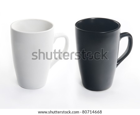 Dark and light ceramic cup with handle isolated on white background. You can get with them every colors. - stock photo