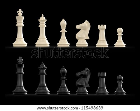 Dark and light chess set on black background. - stock photo